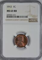 1912 LINCOLN CENT NGC MINT STATE 63 RED BROWN -  CHOICE COIN - WHOLLY ORIGINAL