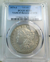 1879 S REV'78 MORGAN DOLLAR PCGS AU50 VAM 25 ENGRAV. FEATHER TOP100 BR
