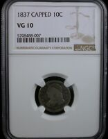 1837 CAPPED 10C NGC VG 10 1837 CAPPED BUST DIME SILVER 10C