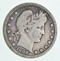 1908 D LIBERTY BARBER 90  SILVER US QUARTER  050