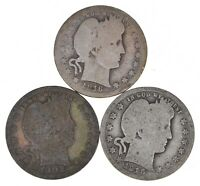 1902 O 1916 D 1915 D BARBER LIBERTY SILVER QUARTER 3 COIN LO