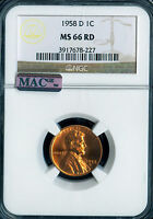 1958-D LINCOLN CENT GRADE BY NGC MAC  MINT STATE 66RD ..