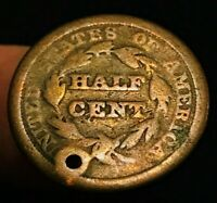 1850 BRAIDED HAIR HALF CENT 1/2C KEY DATE  US COLLECTIBLE FILLER COIN CCC155