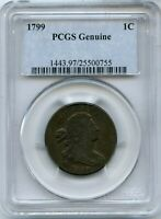 1799 DRAPED BUST LARGE CENT PCGS GENUINE 1C COIN - JD592