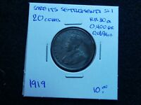 SS 1: STRAITS SETTLEMENTS SILVER 20 CENTS DATED 1919 B