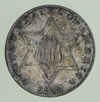 1858 SILVER THREE-CENT PIECE - CIRCULATED 9653