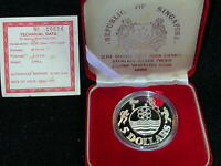 S 52: SINGAPORE SILVER PROOF 5 $ 1983 12TH SEA GAMES  CW CER