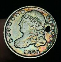 1834 CAPPED BUST DIME 10C TONED SHARP LIBERTY US COLLECTIBLE SILVER COIN CCC310