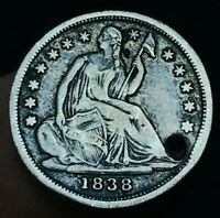 1838 SEATED LIBERTY HALF DIME 5C NO DRAPERY US COLLECTIBLE SILVER COIN CCC468
