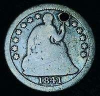 1841 O SEATED LIBERTY HALF DIME 5C DRAPERY US COLLECTIBLE SILVER COIN CCC471