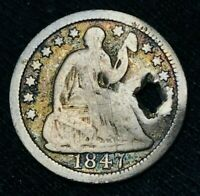 1847 SEATED LIBERTY HALF DIME 5C SHARP HOLED US COLLECTIBLE SILVER COIN CCC472