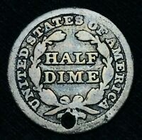 1848 SEATED LIBERTY HALF DIME 5C SHARP HOLED US COLLECTIBLE SILVER COIN CCC473