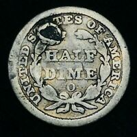 1851 O SEATED LIBERTY HALF DIME 5C GOOD HOLED US COLLECTIBLE SILVER COIN CCC477