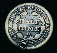 1852 O SEATED LIBERTY HALF DIME 5C  HOLED US COLLECTIBLE SILVER COIN CCC479