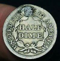 1854 SEATED LIBERTY HALF DIME 5C ARROWS HOLED US COLLECTIBLE SILVER COIN CCC482