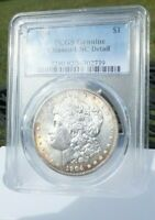 1904 P MORGAN SILVER DOLLAR PCGS UNC  DETAIL CLEANED  . LY TONED
