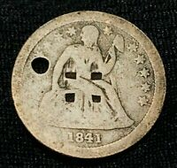 1841 O  SEATED LIBERTY DIME 10C STARS HOLED COUNTERSTAMPED US SILVER COIN CCC126