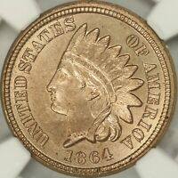 1864 COPPER NICKEL INDIAN CENT NGC MINT STATE 64 CAC