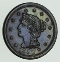 1850 BRAIDED HAIR LARGE CENT - BLUE TONE 2322