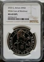 2020 BRITAIN 5 POUND WHITE LION OF MORTIMER NGC MINT STATE 69 DPL - POP.  2