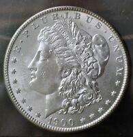 1900-P MORGAN SILVER DOLLAR A BRILLIANT FROSTY BU COIN WITH SHIPS FREE