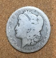 1904-S MORGAN SILVER DOLLAR COIN IN ABOUT GOOD CONDITION