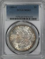 1886 S MORGAN SILVER DOLLAR $1 PCGS CERTIFIED MS MINT STATE 63 028