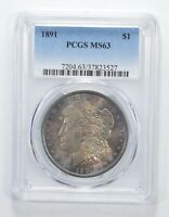 MINT STATE 63 1891 MORGAN SILVER DOLLAR - TONED - GRADED PCGS 6405