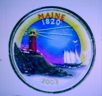 SET OF P AND D COLORIZED STATE QUARTERS MAINE 2003