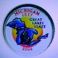 SET OF P AND D COLORIZED STATE QUARTERS MICHIGAN 2004