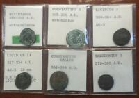 LOT OF 6 OLD ESTATE ROMAN COINS WITH ID TAGS: LARGEST 22 MM
