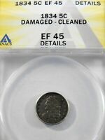 1834 H10 CAPPED BUST HALF DIME - 5C SILVER ANA GRADED EF45 CHECK IT OUT