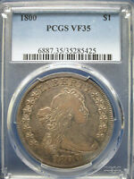 1800 SILVER $1 DRAPED BUST DOLLAR PCGS VF35