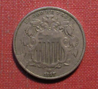 1867 SHIELD NICKEL   STRONG DETAILS WITH OBVERSE CUD ERROR
