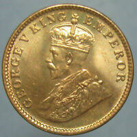 CHOICE BU 1934 C GEORGE V BRITISH INDIA ONE QUARTER ANNA