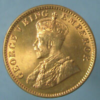 FULL RED GEM BU 1936 C GEORGE V ONE QUARTER ANNA
