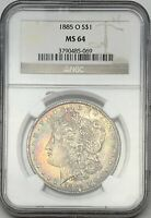 1885-O MORGAN SILVER DOLLAR NGC MINT STATE 64 RAINBOW TONED OBVERSE & REVERSE