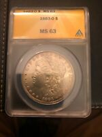 1883-O MORGAN SILVER DOLLAR ANACS - MINT STATE 63 HUNDREDS OF UNDERGRADED COIN