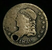 1830 CAPPED BUST SILVER HALF DIME 5C ROTATED REVERSE ERROR FILLER US COIN CCC296