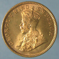 SUPERB GEM BU 1934 C GEORGE V ONE QUARTER ANNA