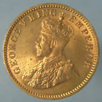 FULL RED BORDERLINE GEM BU 1936 C GEORGE V ONE QUARTER ANNA
