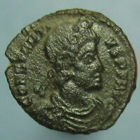 CONSTANTIUS II TWIN VICTORIES AE 4 FROM THE SISCIA MINT   NICE BLACK PATINA