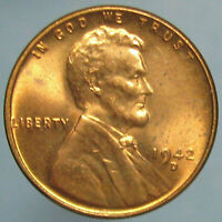 1942 D LINCOLN WHEAT CENT   FULL RED CHOICE BU