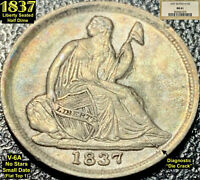 1837 LIBERTY SEATED SILVER HALF DIME   MS61  NGC    NO STARS SMALL DATE