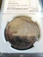 1797 DRAPED BUST DOLLAR, NGC AU DETAILS, 10X6 STARS, ONLY 7000 MINTED