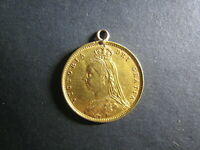 1892 GOLD 1/2 HALF SOVEREIGN COIN NECKLACE LOOP ATTACHED GRE
