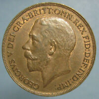1921 GEORGE V PENNY   SHARP BROWN UNCIRCULATED
