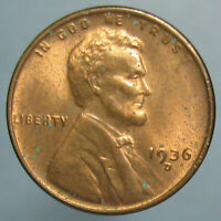 MOSTLY RED CHOICE BU 1936 D LINCOLN CENT   LIGHT TONING & SOME CARBON SPOTS