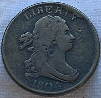 1804 DRAPED BUST HALF CENT CROSSLET FOUR WITH STEMS FINE PLUS