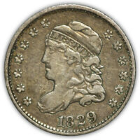 1829 CAPPED BUST HALF DIME. VERY FINE. FIRST YEAR OF TYPE.